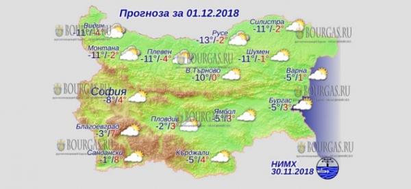 1 декабря в Болгарии — днем +8°С, в Причерноморье +3°С