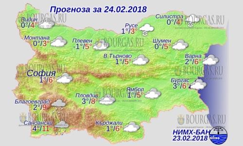 24 февраля в Болгарии — дожди и снегопады, днем до +11, в Причерноморье +6°С