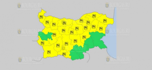 На 11 февраля в Болгарии — ветреный Желтый код опасности