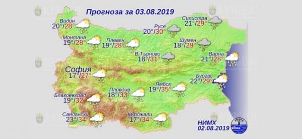 3 августа в Болгарии — днем +35°С, в Причерноморье +29°С