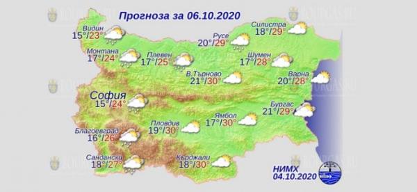 6 октября в Болгарии — днем +30°С, в Причерноморье +29°С