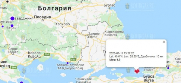11 января 2020 года на Западе Турции произошло землетрясение, которое ощущалось в Бургасе