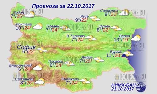 22 октября в Болгарии — днем до +26°С, в Причерноморье +20°С