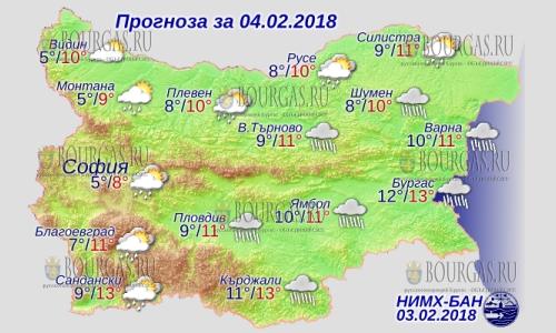 4 февраля в Болгарии дожди, днем до +13°С, в Причерноморье +13°С