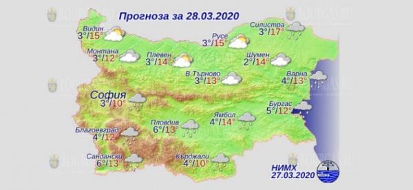 28 марта в Болгарии — днем +17°С, в Причерноморье +13°С
