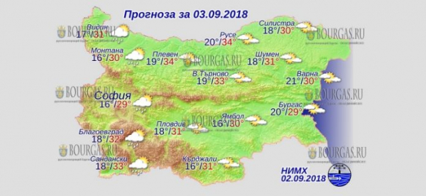 2 сентября в Болгарии — днем +34°С, в Причерноморье +30°С, температура воды в Черном море до +29°С