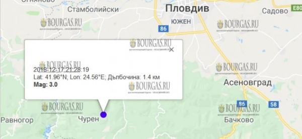 18 декабря 2018 года в Болгарии произошло землетрясение 3,0 балла по шкале Рихтера