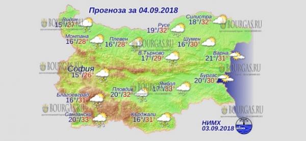 4 сентября в Болгарии — на Западе и в Центре дожди с грозами, днем +33°С, в Причерноморье +31°С