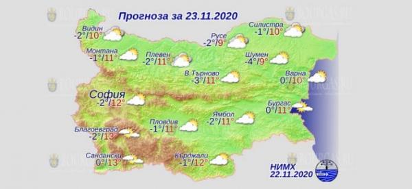 23 ноября в Болгарии — днем +13°С, в Причерноморье +11°С