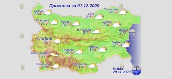 1 декабря в Болгарии — днем +8°С, в Причерноморье +6°С
