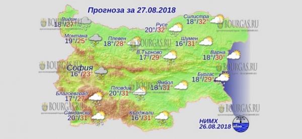 27 августа в Болгарии — погода испортилась, днем +32°С, в Причерноморье +30°С