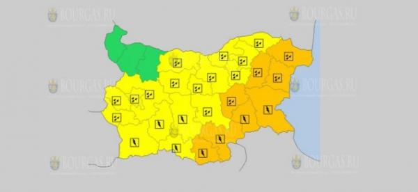 На 4-е октября в Болгарии — дождевой и грозовой Желтый код опасности