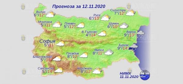 12 ноября в Болгарии — днем +14°С, в Причерноморье +14°С