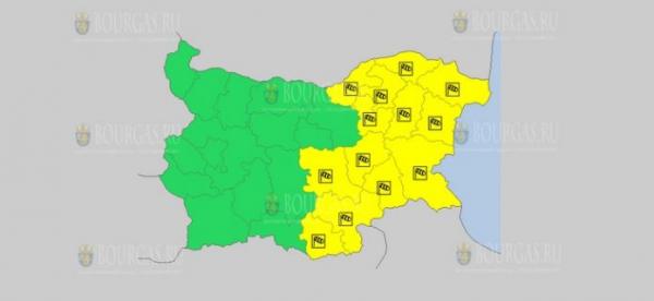 На 8 августа в Болгарии — ветреный Желтый коды опасности