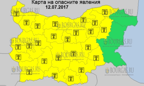12 июля в Болгарии до +38°С, горячий Желтый код опасности