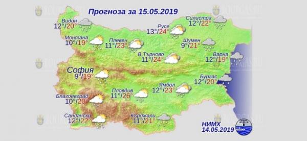 15 мая в Болгарии — днем +26°С, в Причерноморье +20°С