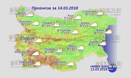 14 марта в Болгарии — днем +16, в Причерноморье +17°С