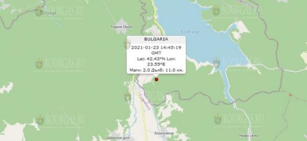 23-го января 2021 года на Юго-Западе Болгарии произошло землетрясение