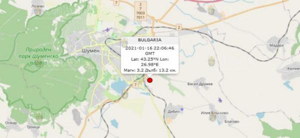 17-го января 2021 года на Северо-Востоке Болгарии произошло землетрясение