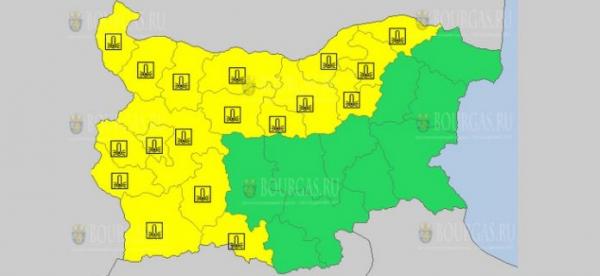 16-го января в Болгарии объявлен Желтый коды опасности