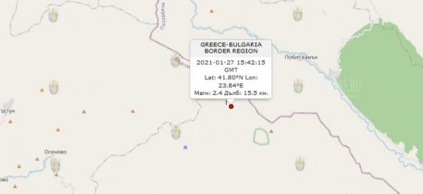 27-го января 2021 года на Юго-Западе Болгарии произошло землетрясение
