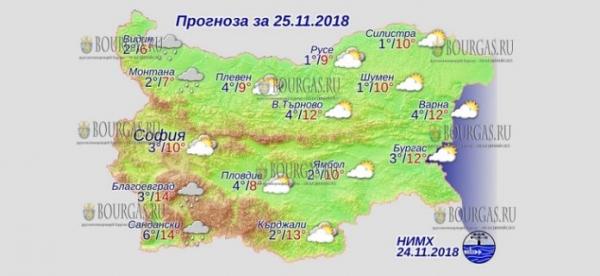 25 ноября в Болгарии — днем +14°С, в Причерноморье +12°С