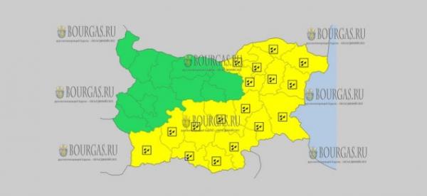 19 ноября в Болгарии — дождливый и ветренный Желтые коды опасности