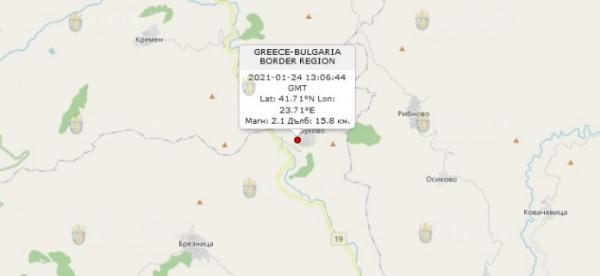 24-го января 2021 года на Юге Болгарии произошло землетрясение