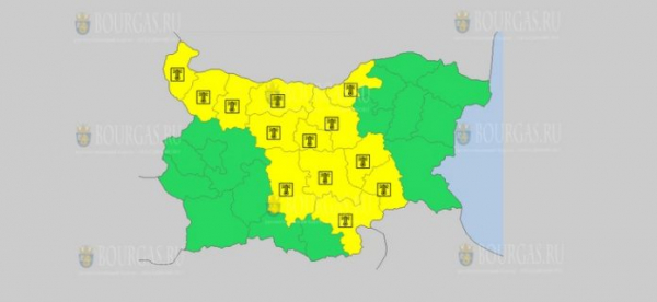 На 9-е августа в Болгарии — горячий Желтый код опасности