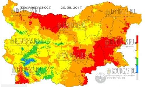 20 августа 2017 года в Болгарии экстремальный индекс пожарной опасности