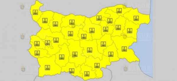 19-го января в Болгарии объявлен Желтый коды опасности