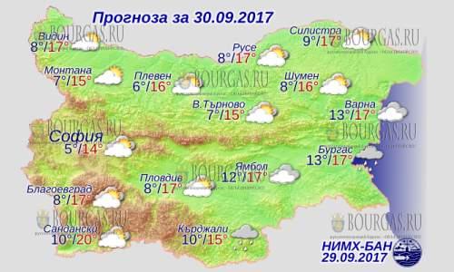 30 сентября в Болгарии — холодает, днем до +20°С, в Причерноморье +17°С