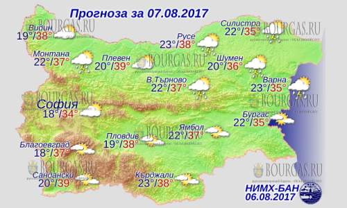 7 августа в Болгарии до +39°С, пекло не отступает, в Причерноморье до +35°С