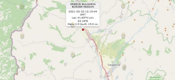 22-го февраля 2021 года на Юго-Западе Болгарии произошло землетрясение