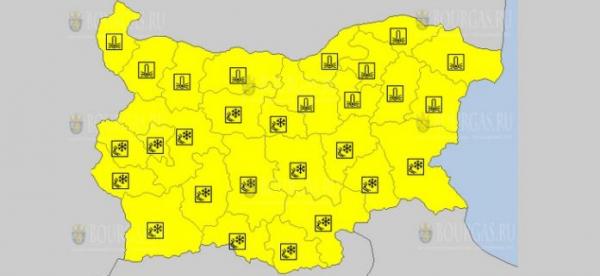 14-го февраля в Болгарии объявлен морозный Желтый код опасности