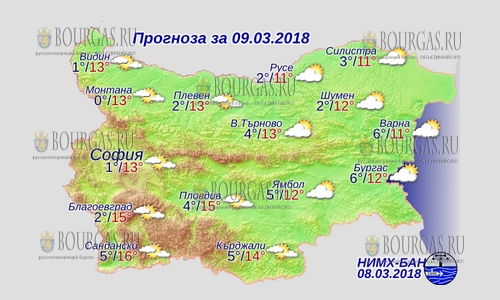 9 марта в Болгарии — днем до +16, в Причерноморье +12°С
