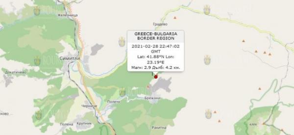 1 марта 2021 года на Юго-Западе Болгарии произошло землетрясение