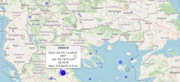 Землетрясение в Греции, которое ощущалось на территории Болгарии
