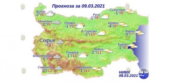 9 марта в Болгарии — днем +12°С, в Причерноморье +8°С