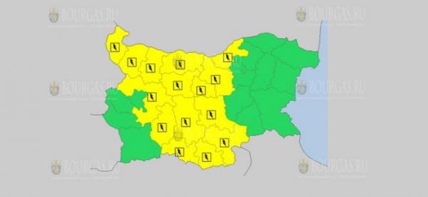 На 24-е июня в Болгарии — дождливый и грозовой Желтый код опасности