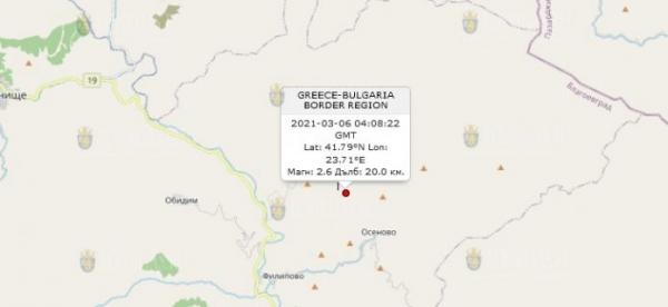6 марта 2021 года на Юге Болгарии произошло землетрясение