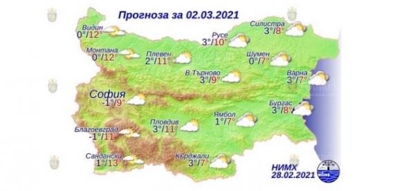 2 марта в Болгарии — днем +13°С, в Причерноморье +8°С