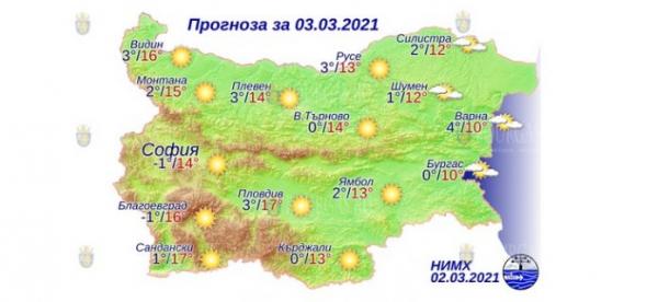 3 марта в Болгарии — днем +17°С, в Причерноморье +10°С