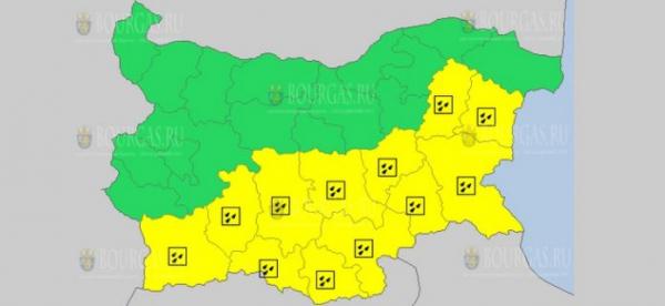 4-го апреля в Болгарии объявлен Желтый код опасности
