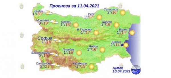 11 апреля в Болгарии — днем +21°С, в Причерноморье +14°С