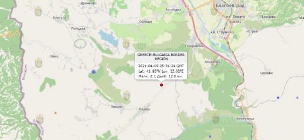 9 апреля 2021 года на Западе Болгарии произошло землетрясение