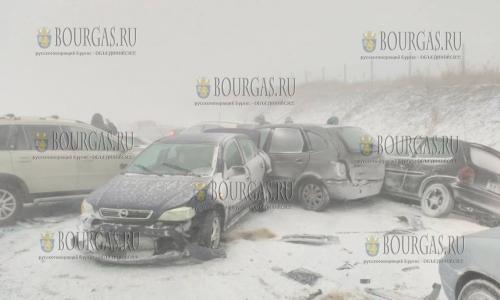 Снежный шторм заблокировал автомагистраль Тракия в Бургасской области