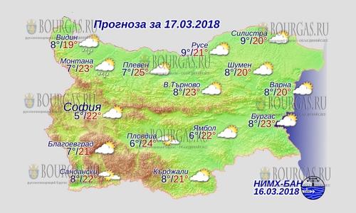 17 марта в Болгарии — снова лето днем +25, в Причерноморье +23°С