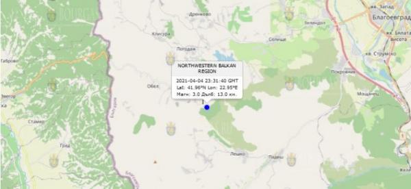 5 апреля 2021 года на Западе Болгарии произошло землетрясение