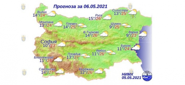 6 мая в Болгарии — днем +27°С, в Причерноморье +24°С